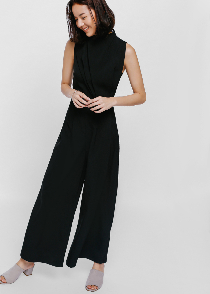 Jollesin Ruched High Neck Jumpsuit
