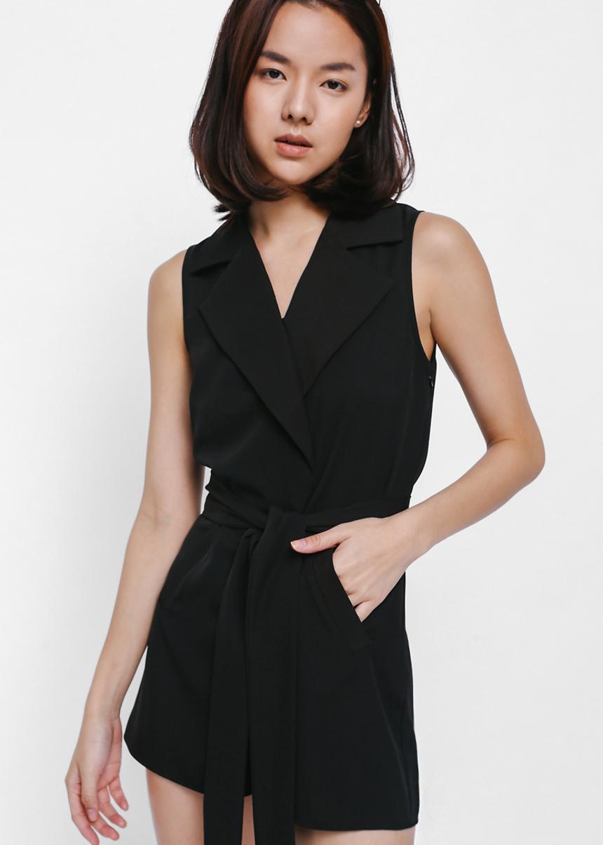Henya Sash Tuxedo Playsuit