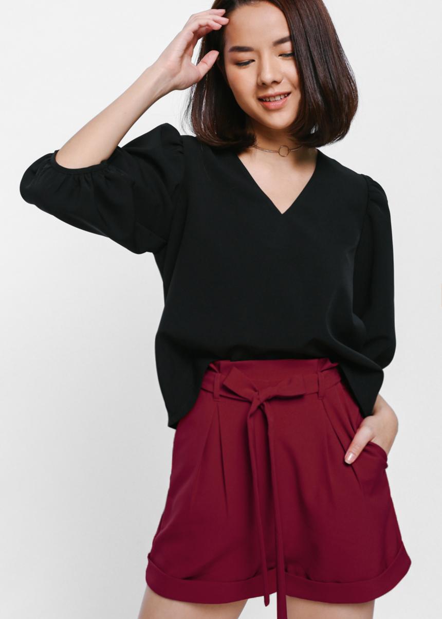 Seannie High Waist Sash Paperbag Shorts