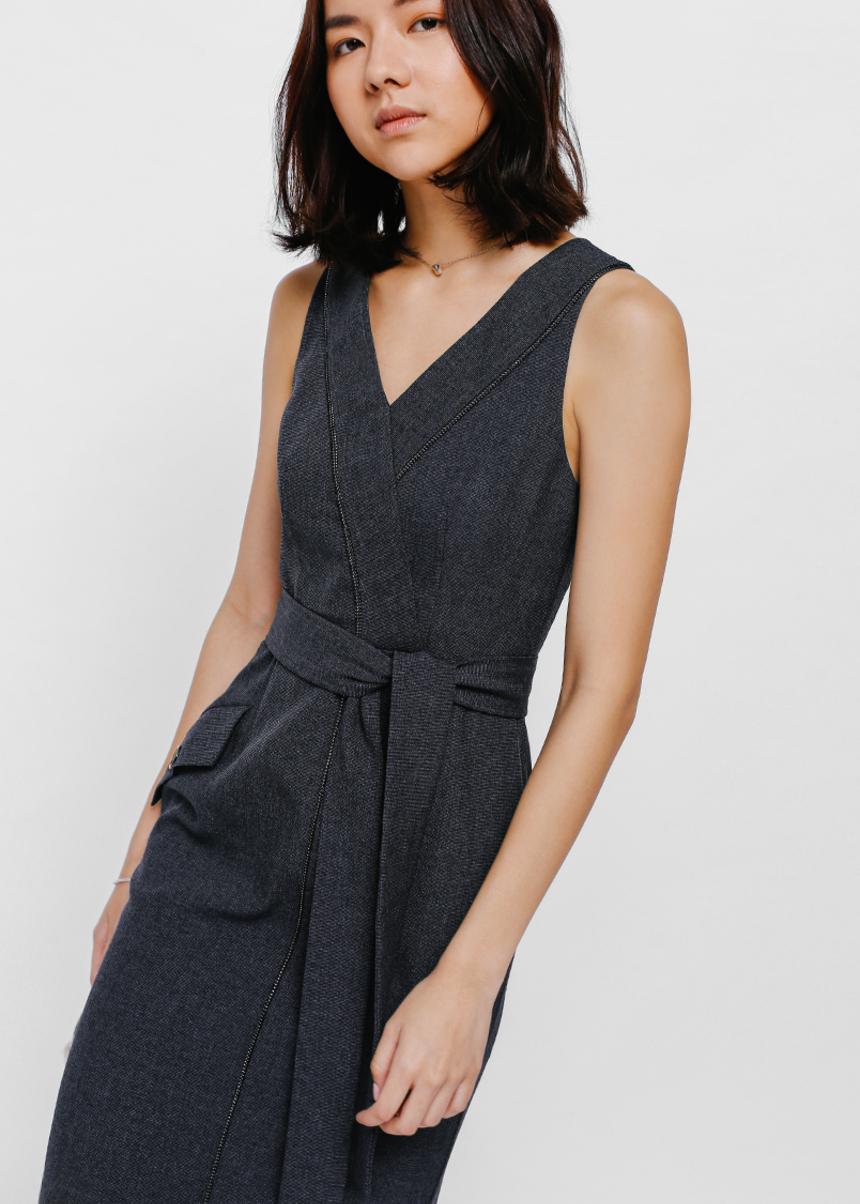 Gemesha Textured Sash Pocket Dress