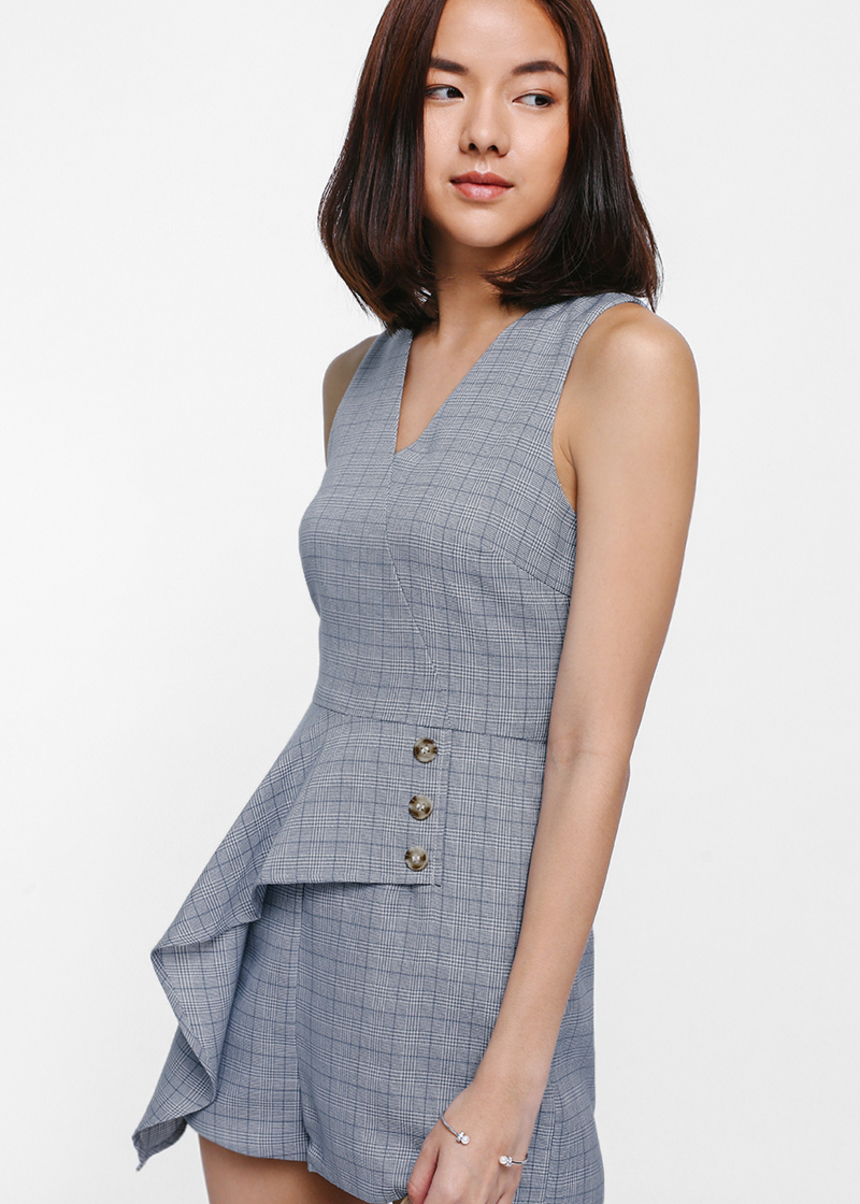 Prischana Tweed Asymmetrical Peplum Romper