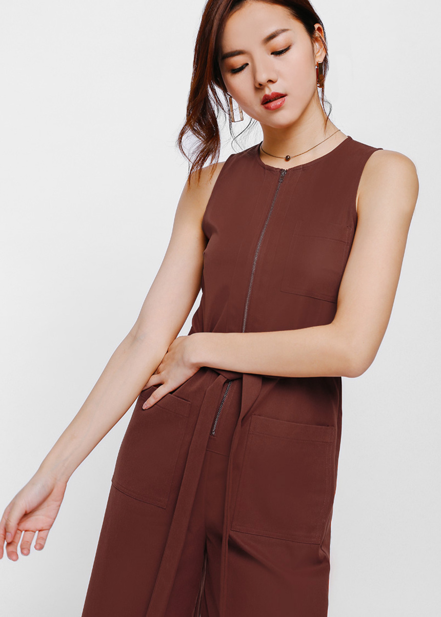 Jalarine Zipper Pocket Belted Midi Jumpsuit