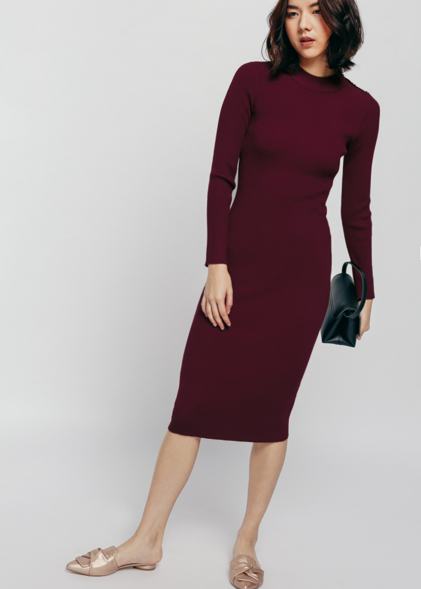 Miranley Button Shoulder Knit Midi Dress