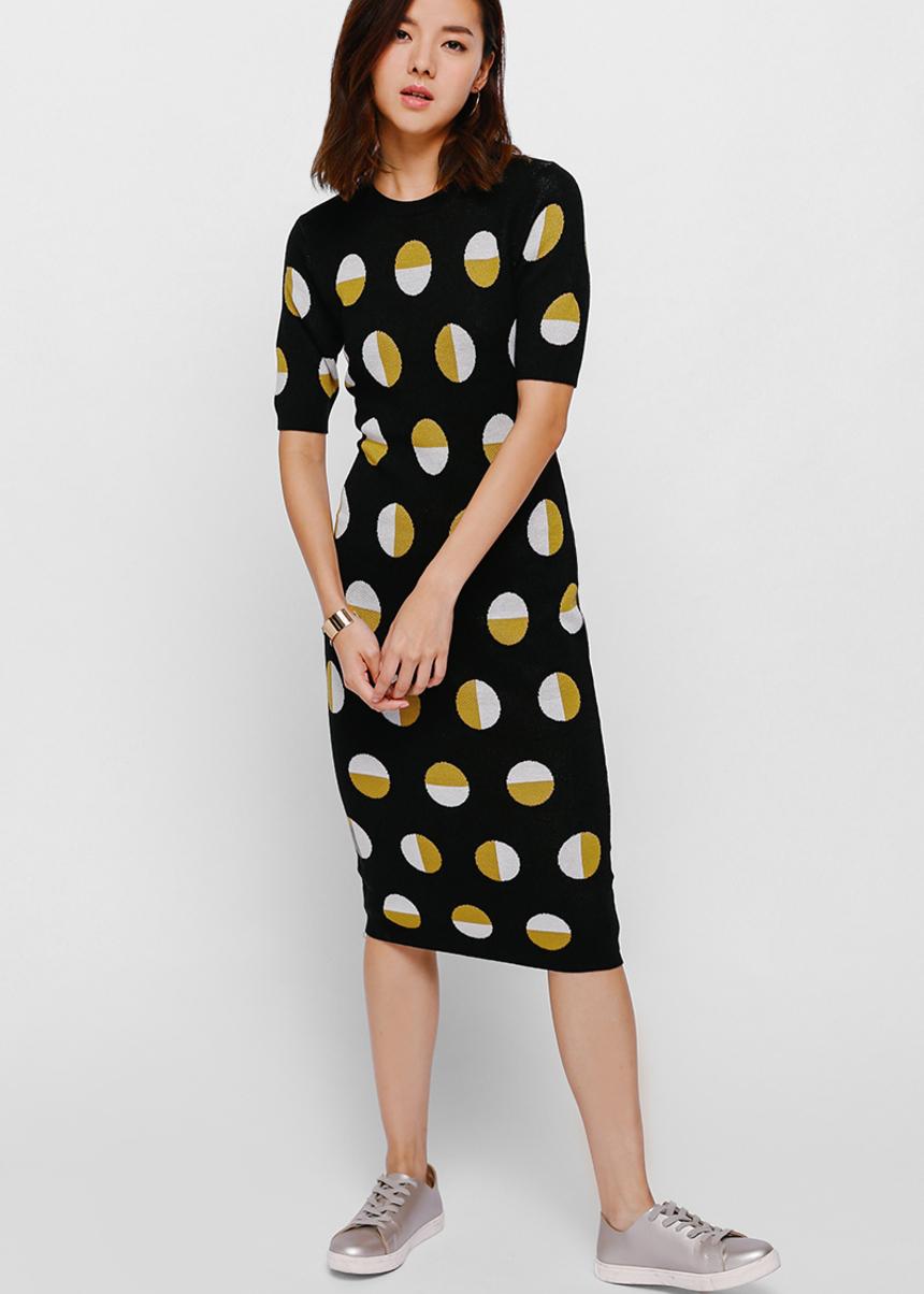 Gyona Polka Dot Knit Dress