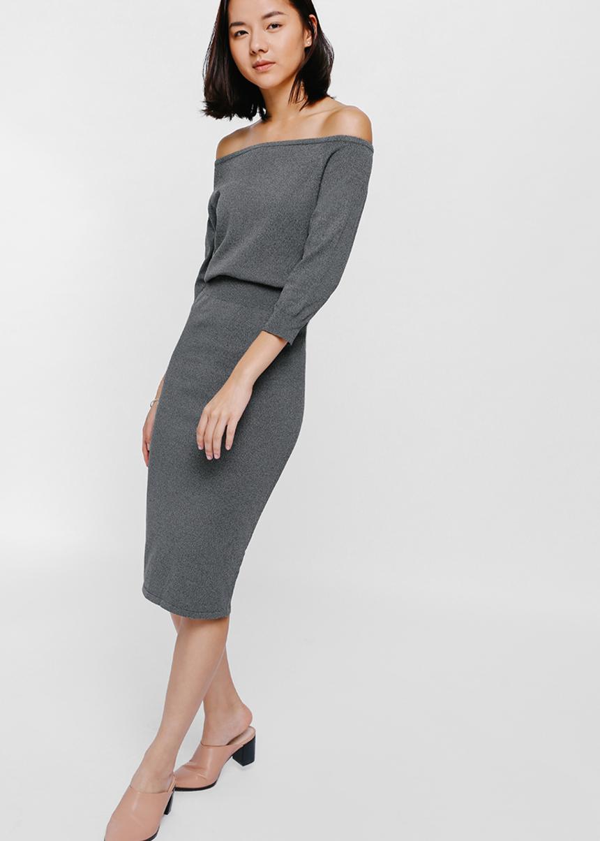 Astalen Off Shoulder Layered Knit Dress