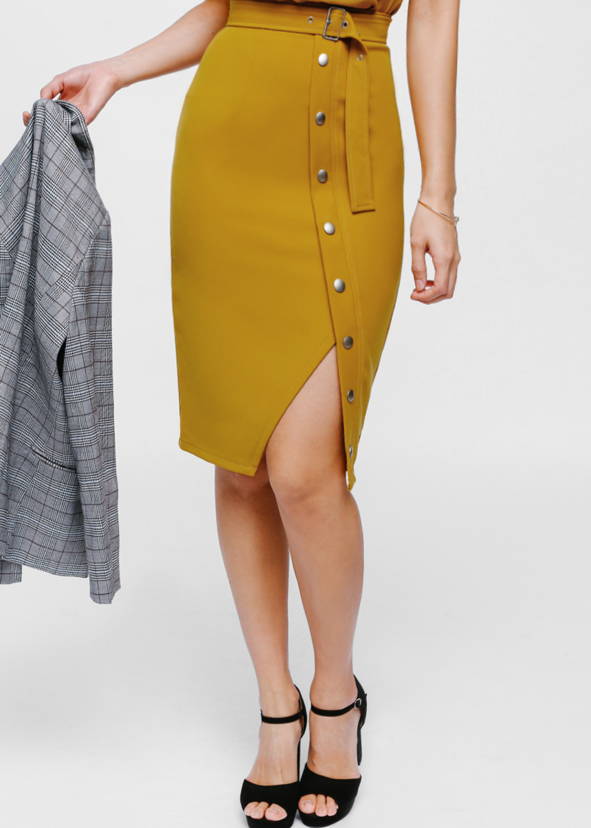 Oesley Belted Button Pencil Skirt