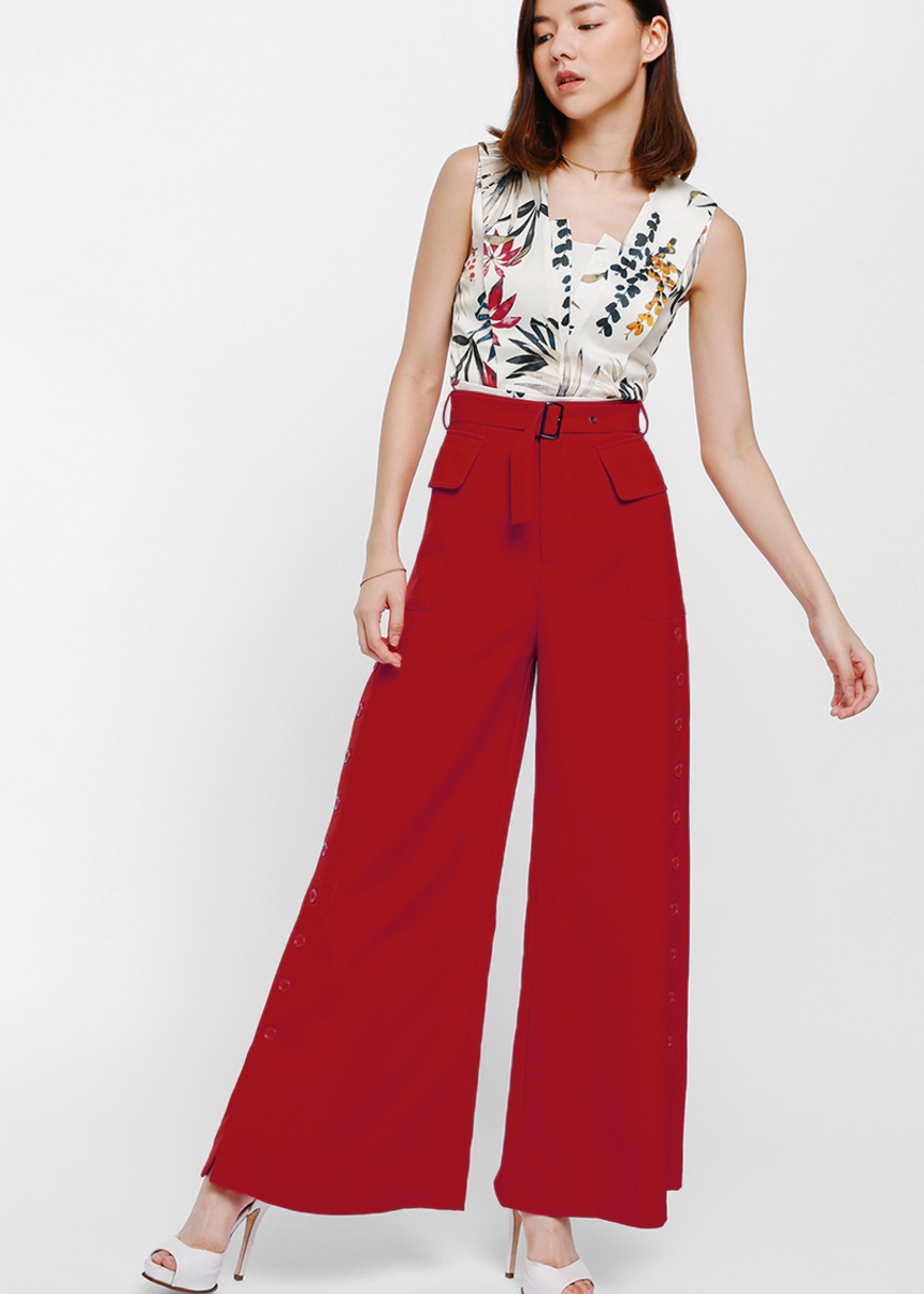 Ilaryn Belted Side Button Flare Pants