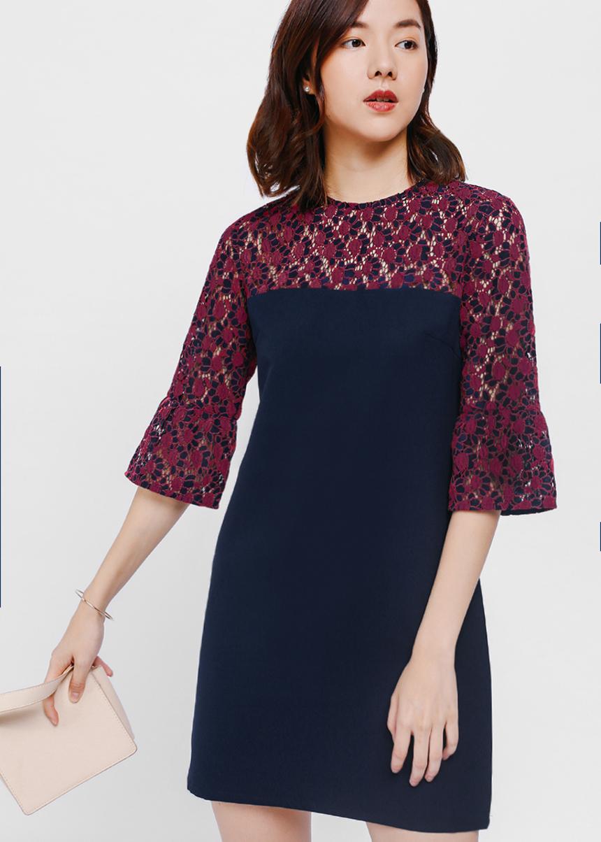 Ellamay Lace Contrast Dress