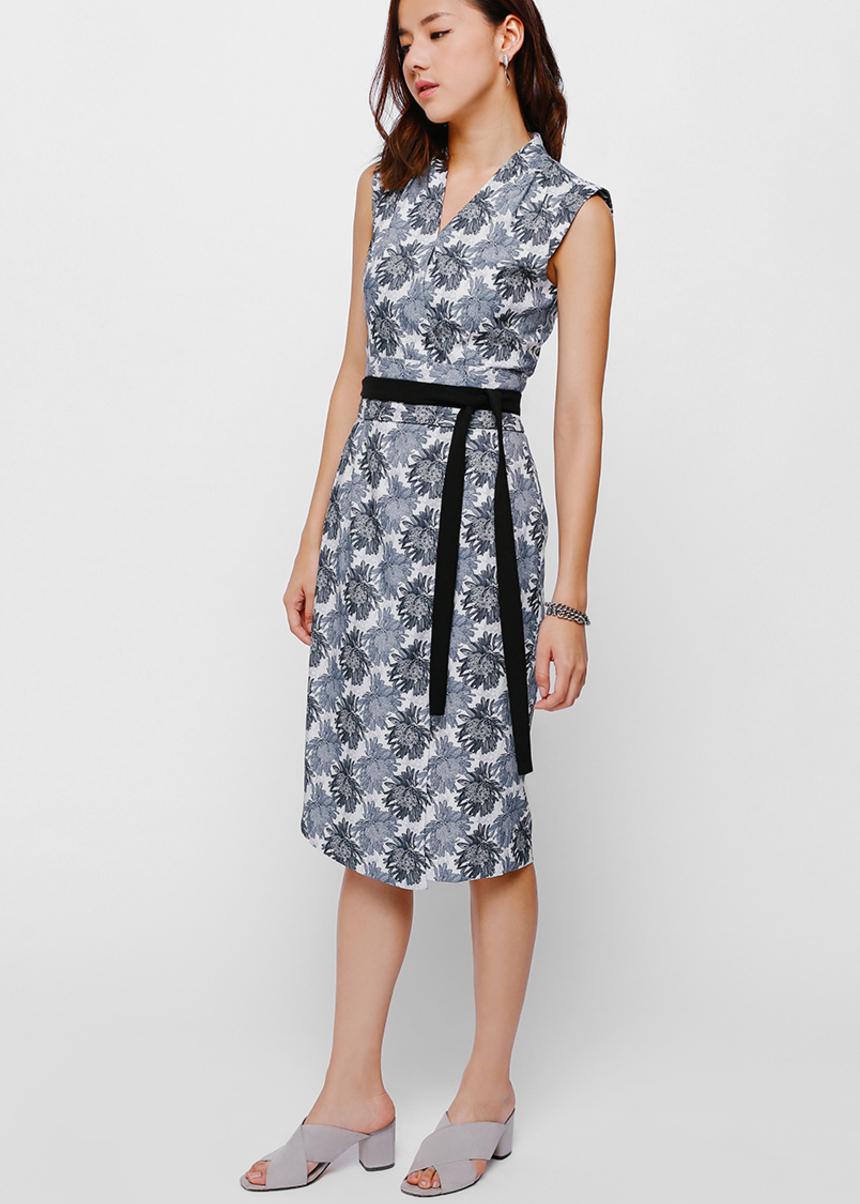 Danissa Sash Foldover Printed Dress