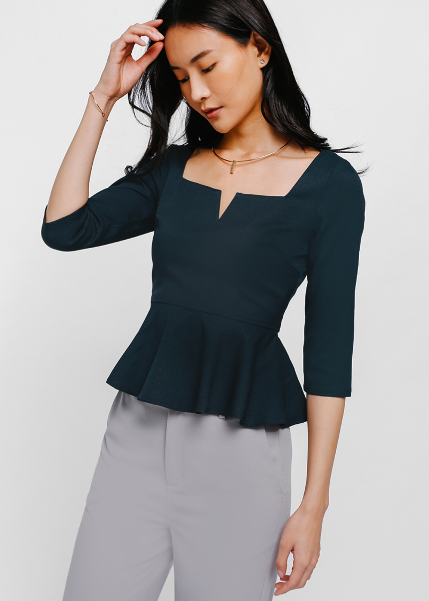 Tagitha Notch Front Peplum Top