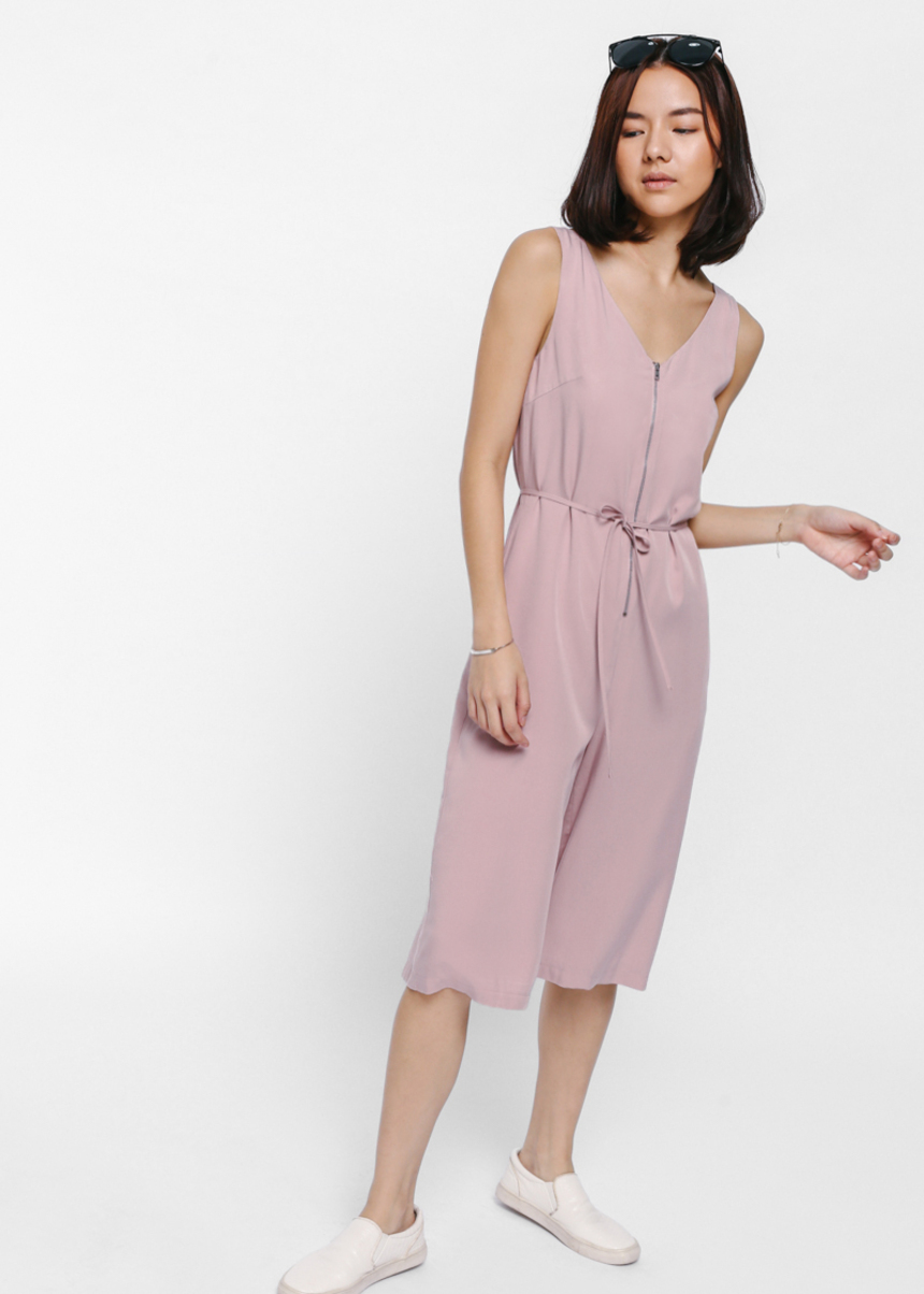 Juenma String Tie Zipper Midi Jumpsuit