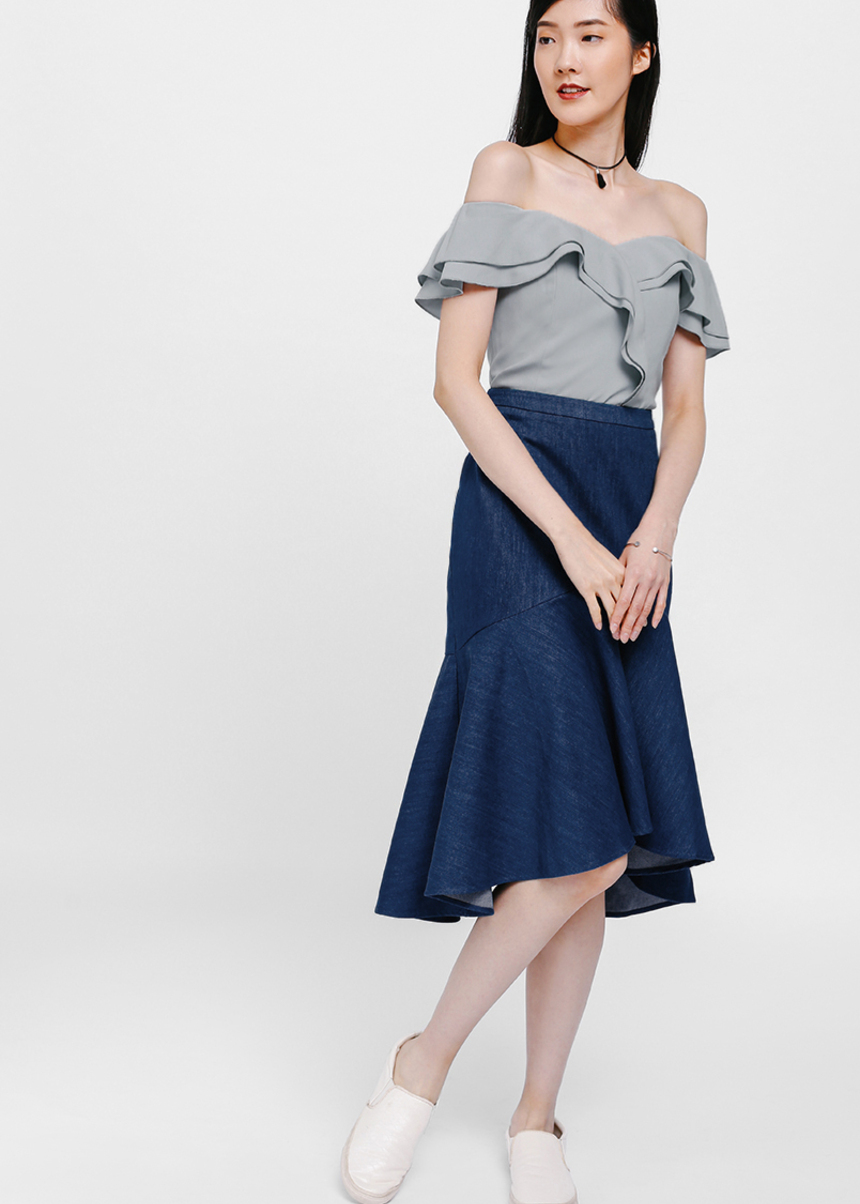 Ullive Denim Asymmetrical Trumpet Skirt