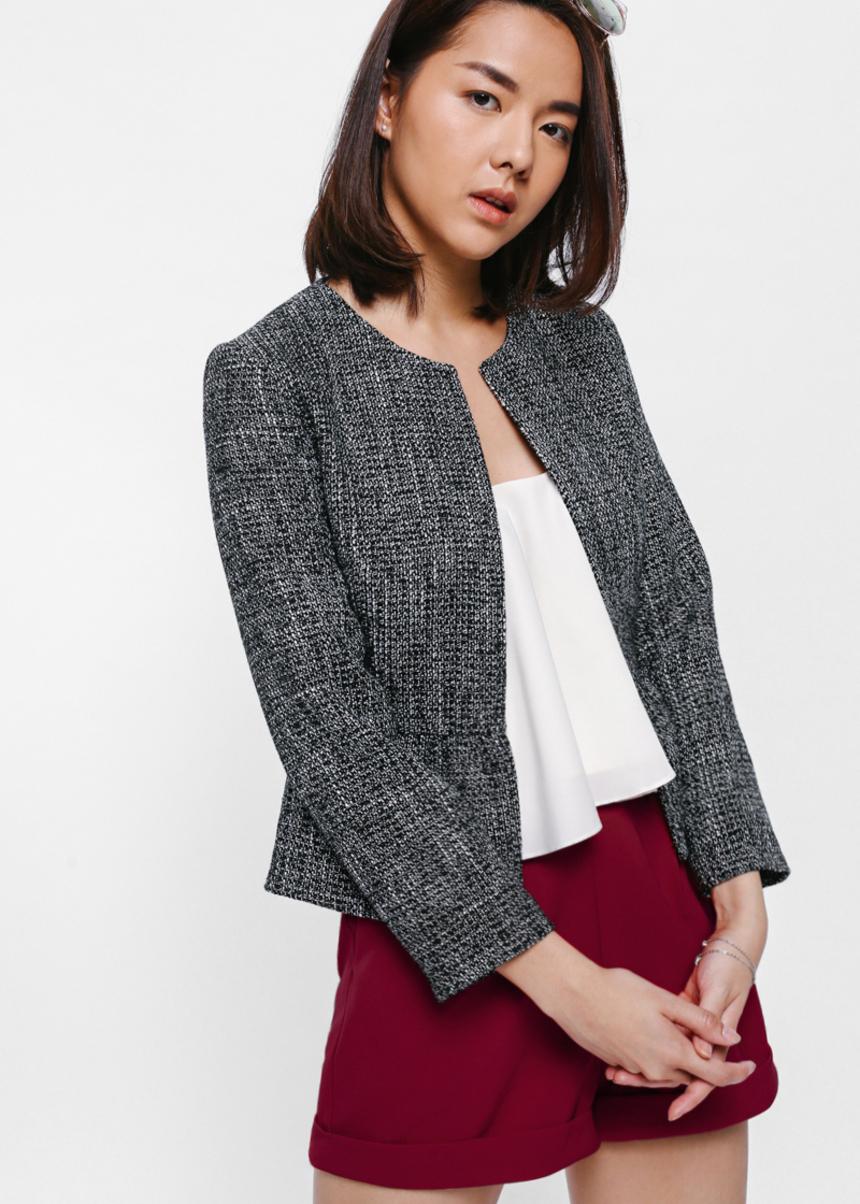 Juditha Ruffled Peplum Tweed Jacket
