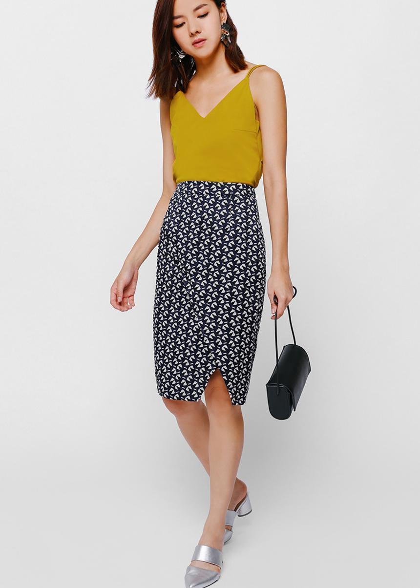Fetryne Printed Foldover Skirt