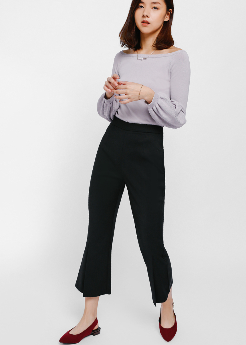 Fiolyn Slit Cropped Flare Pants