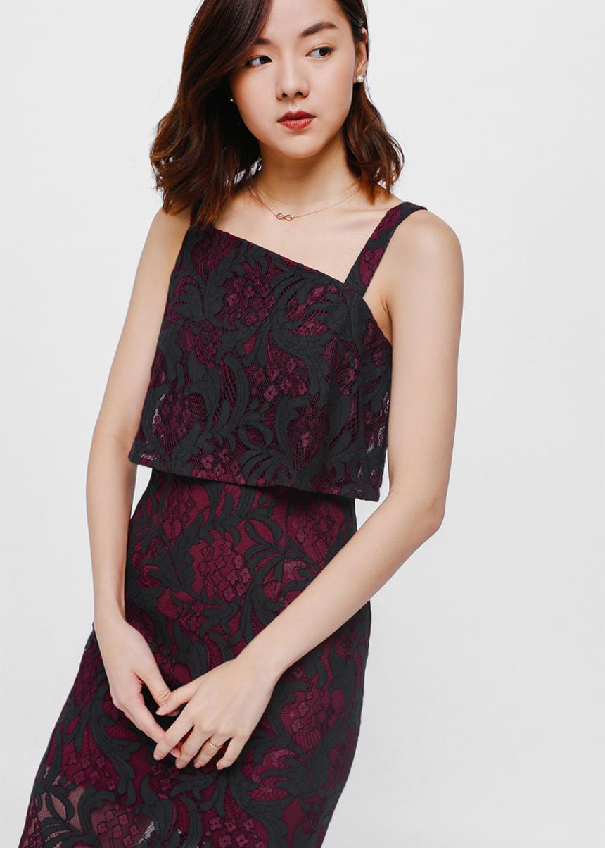 Alkara Lace Asymmetrical Layered Midi Dress