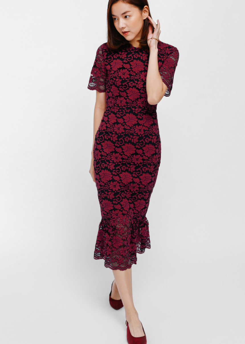 Aranje Ruffle Hem Lace Midi Dress