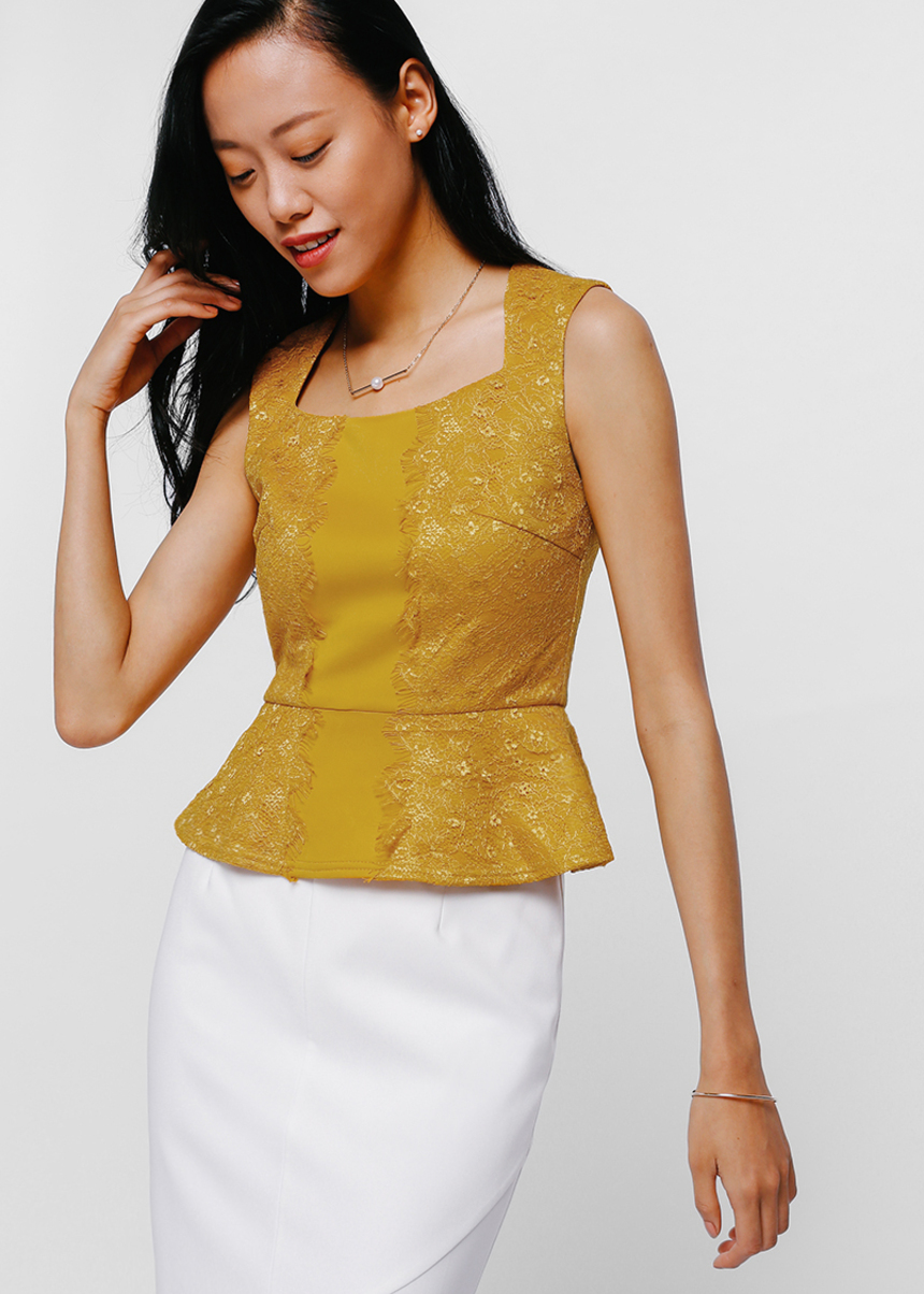Lotaya Lace Trim Peplum Top