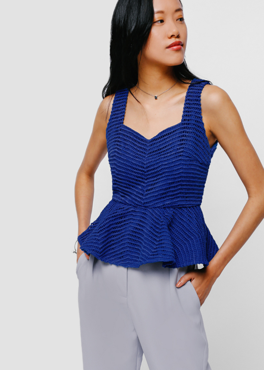 Oriena Crochet Peplum Top