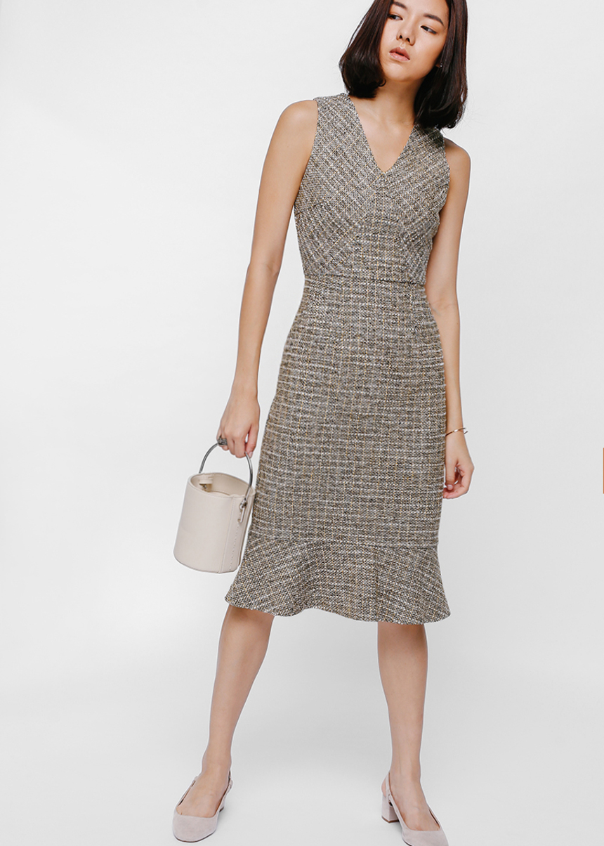 Travyne Trumpet Tweed Midi Dress