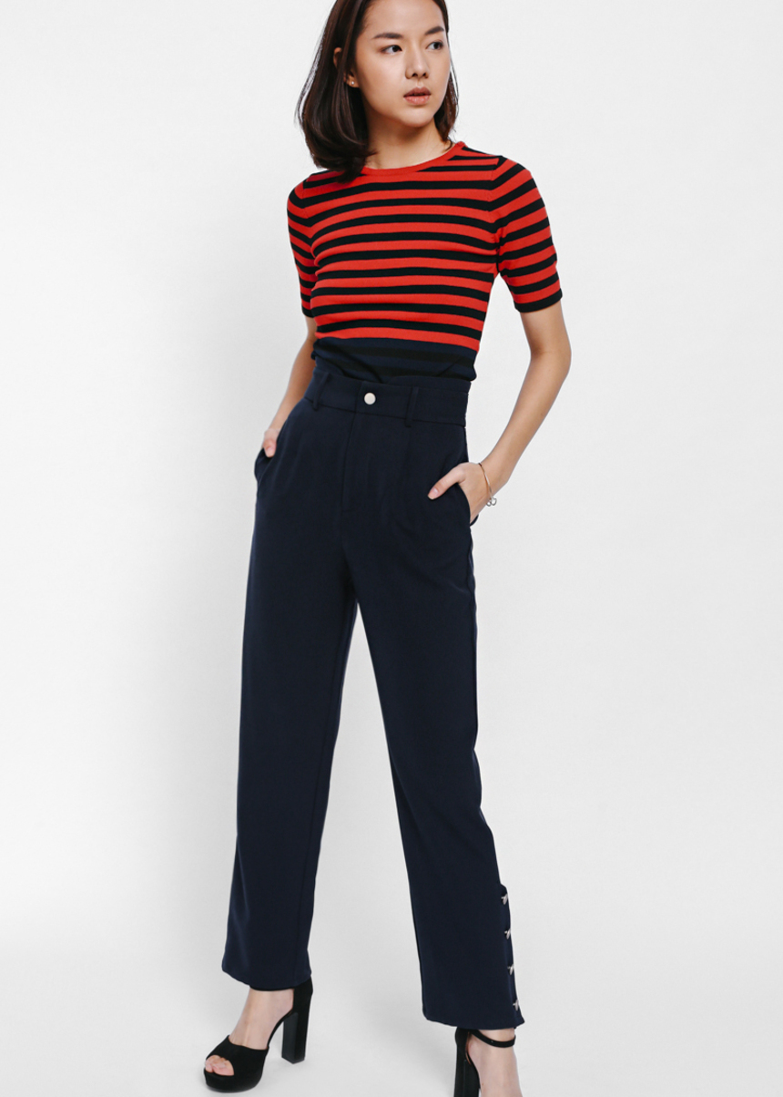 Paccina Side Button High Waist Pants