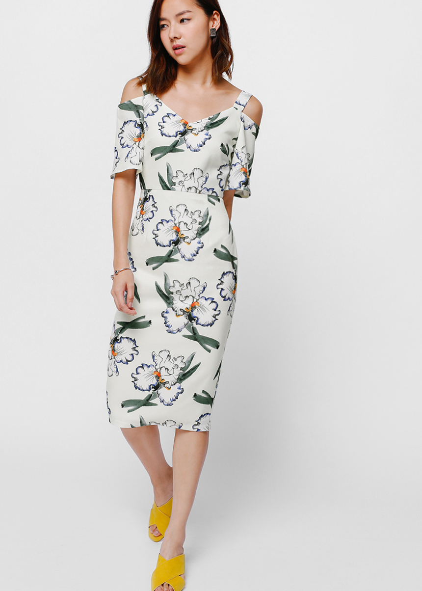 Beasie Printed Cut Out Shoulder Dress
