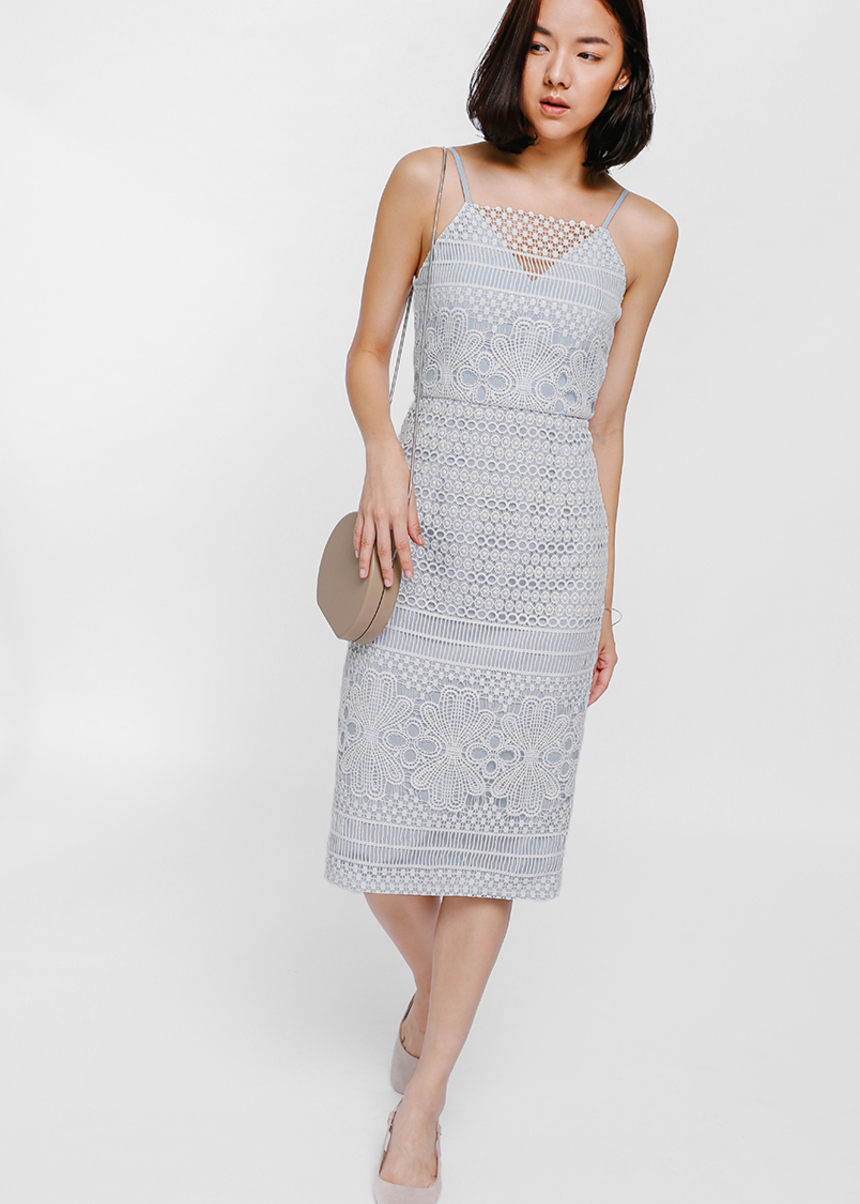 Laurien Lace Overlay Midi Dress