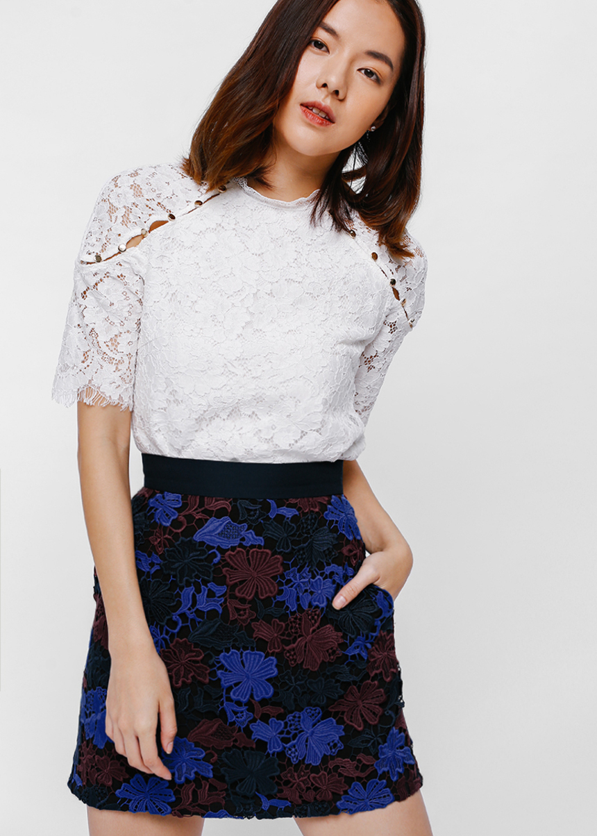 Bobrina Lace Overlay Mini Skirt
