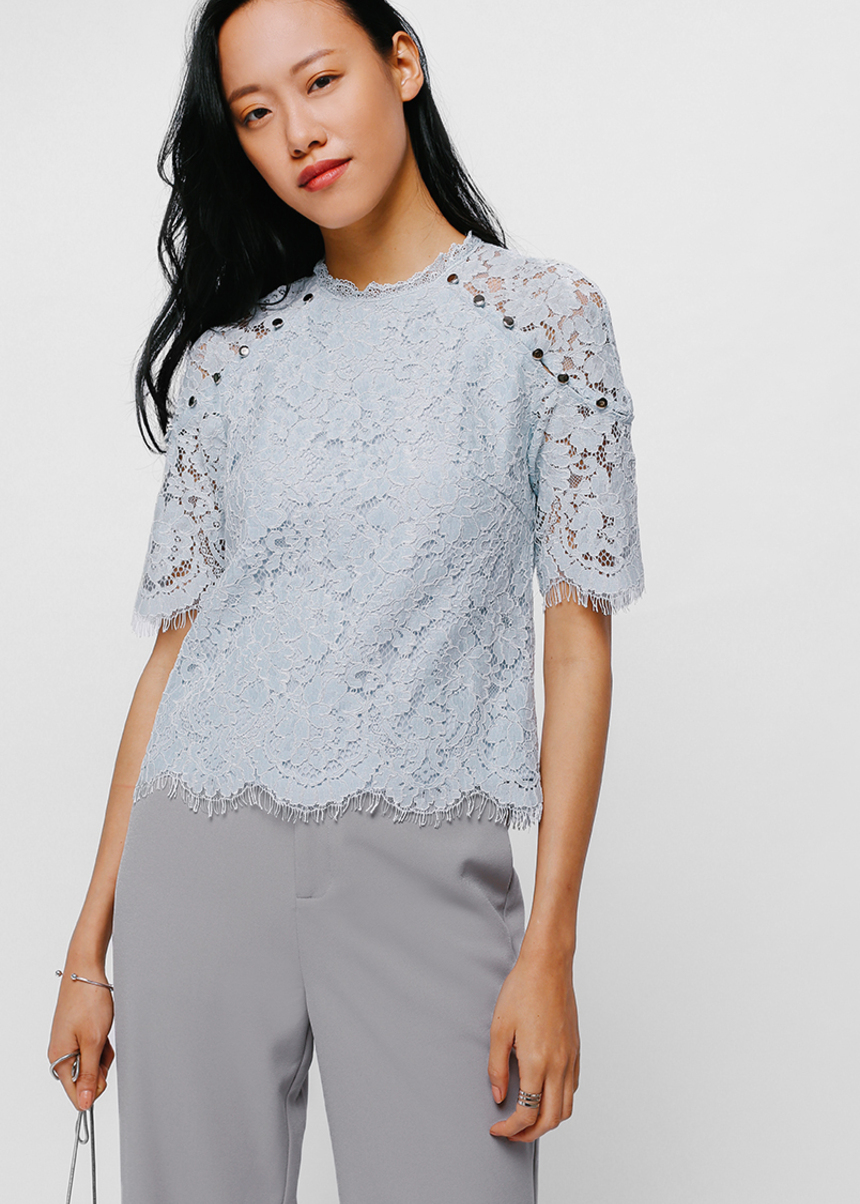 Larenza Lace Button Shoulder Top