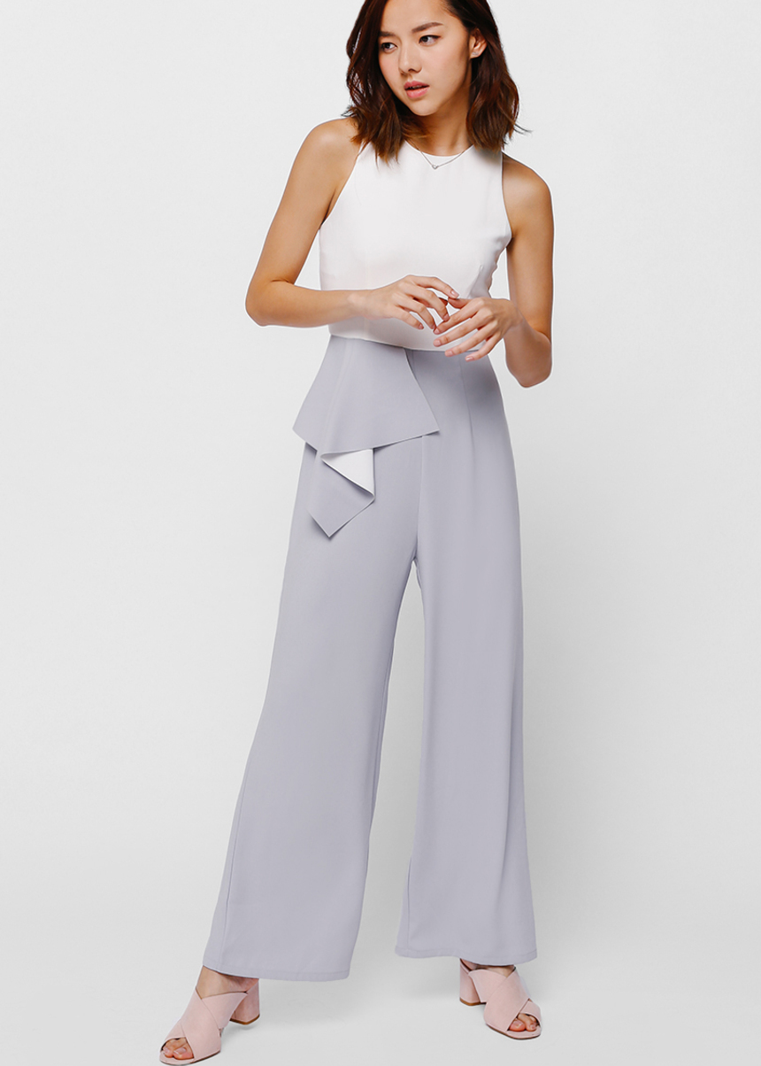 Jayahe Cascade Ruffle Colour Block Jumpsuit