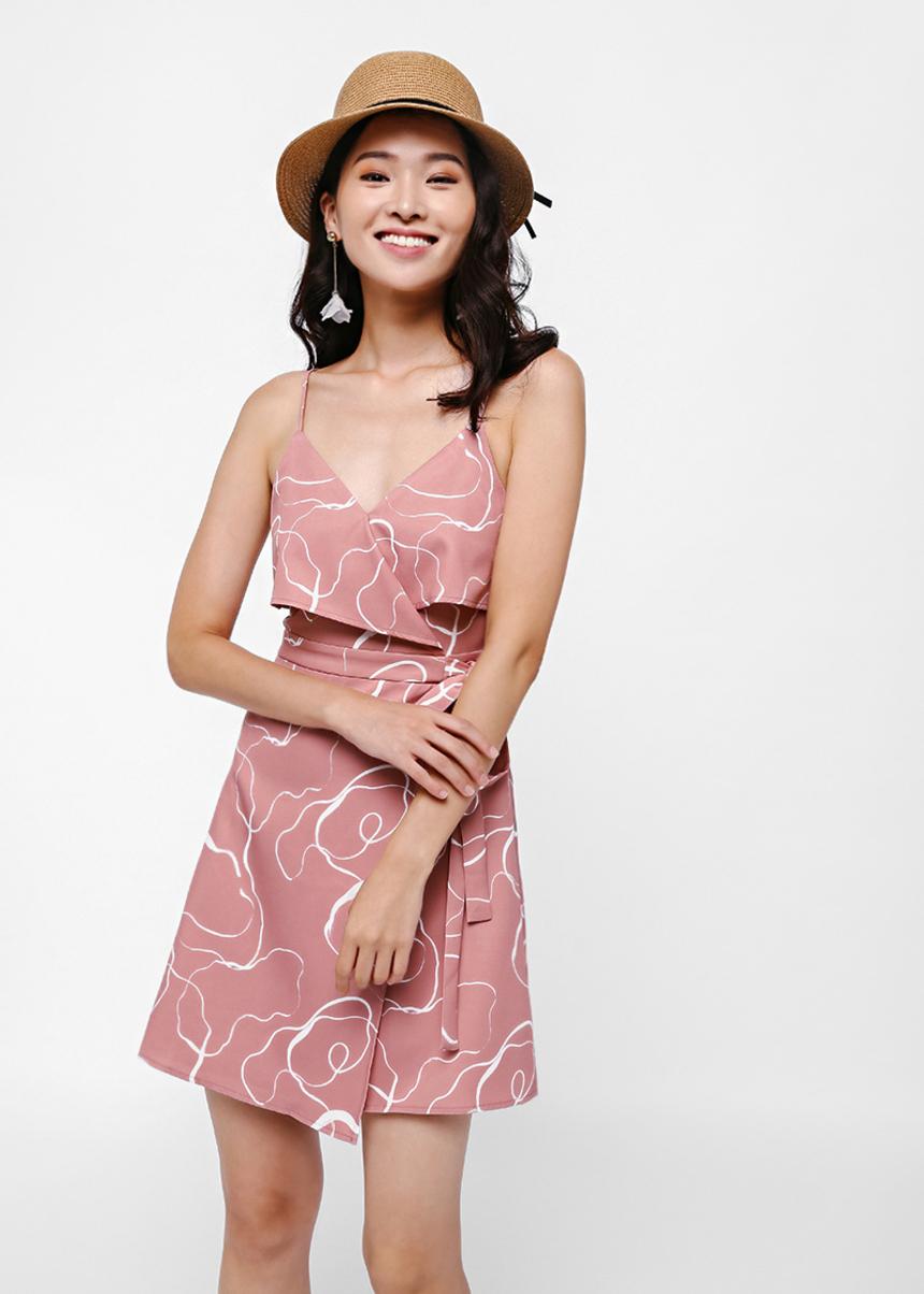 Deshley Printed Layered Sash Tie Dress