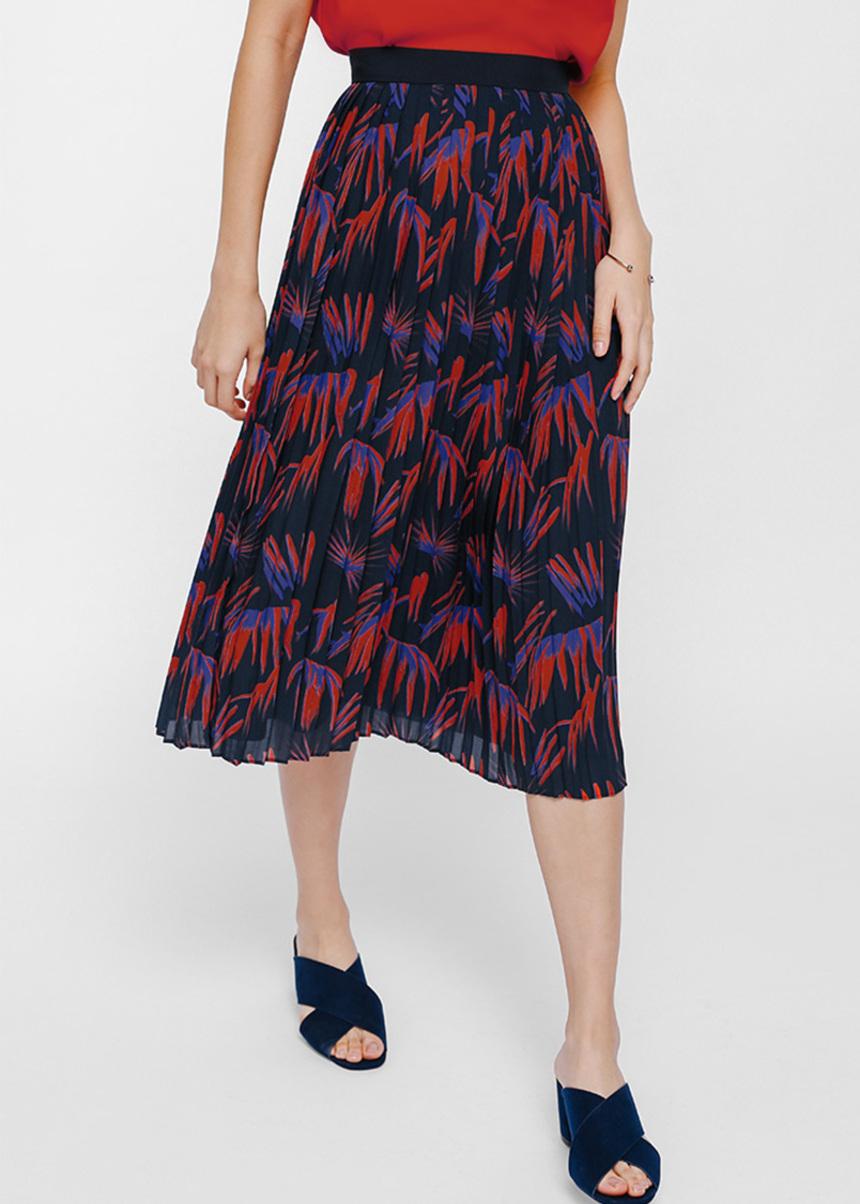 Sergia Printed Pleat Midi Skirt