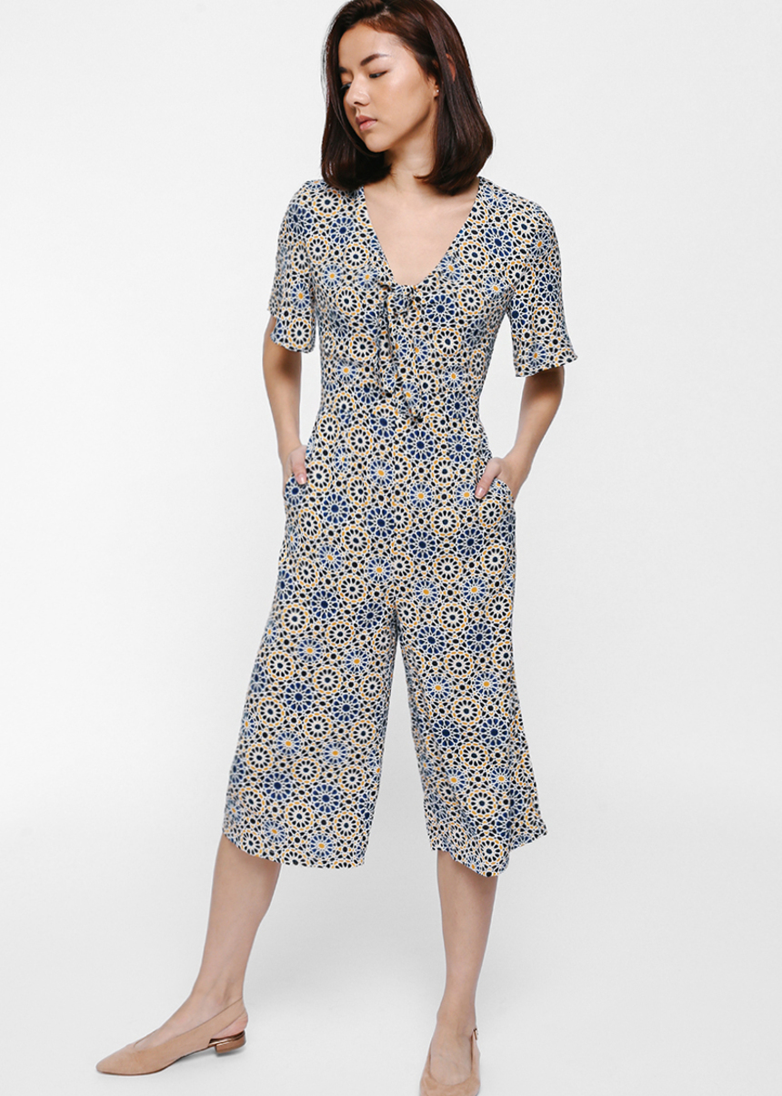 Mardella Printed Knotted Front Midi Jumpsuit