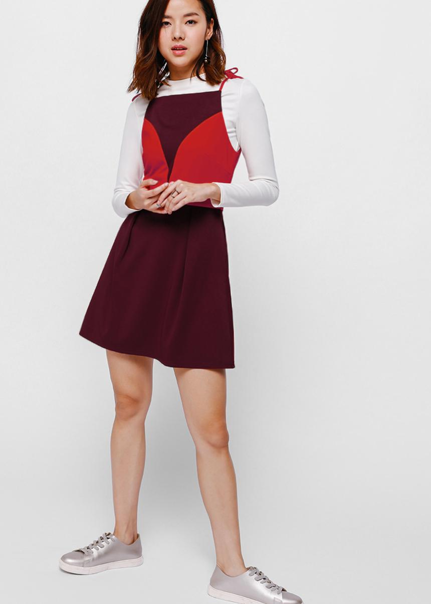 Helsey Colour Block Knotted Shoulder Dress