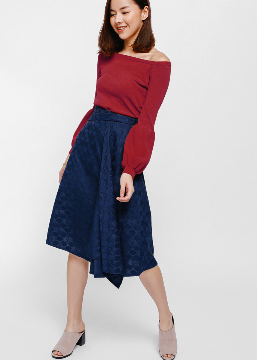 Baeron Jacquard Asymmetrical Pleat Midi Skirt