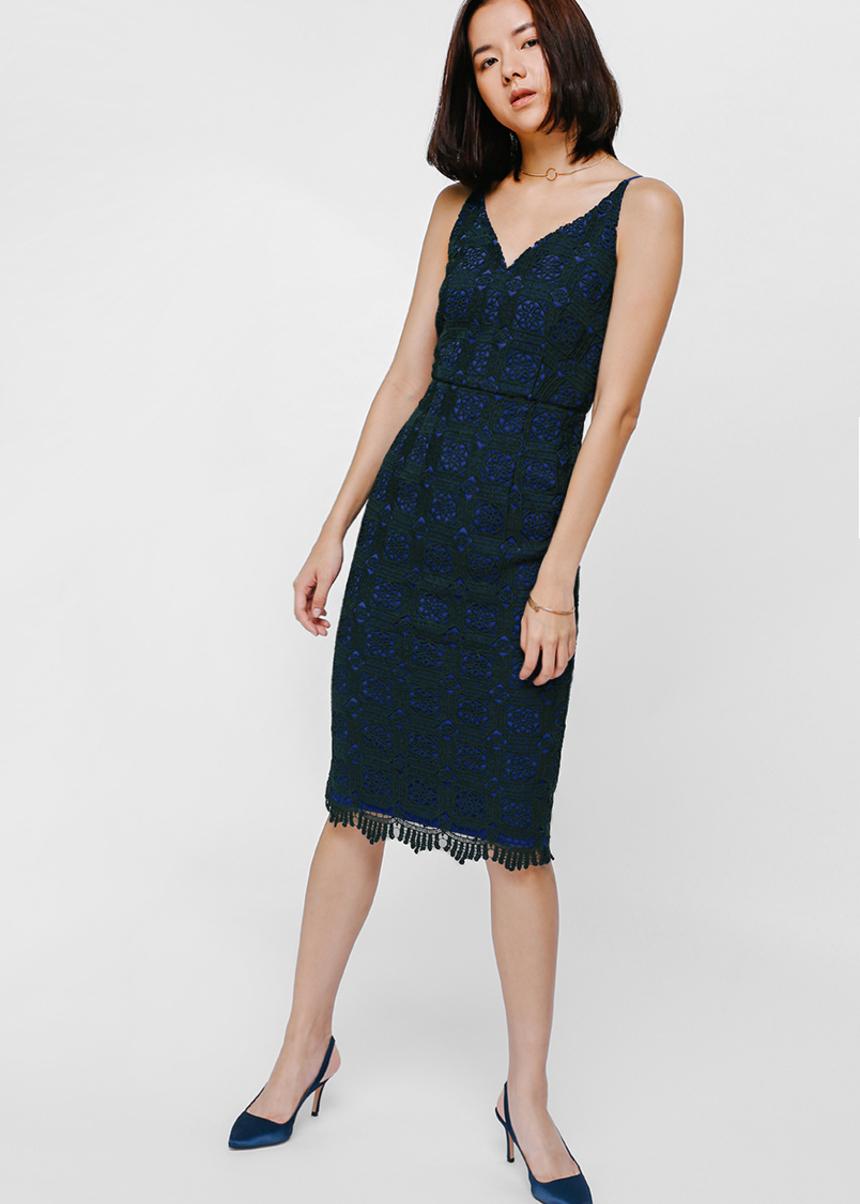 Belva Lace Midi Bodycon Dress