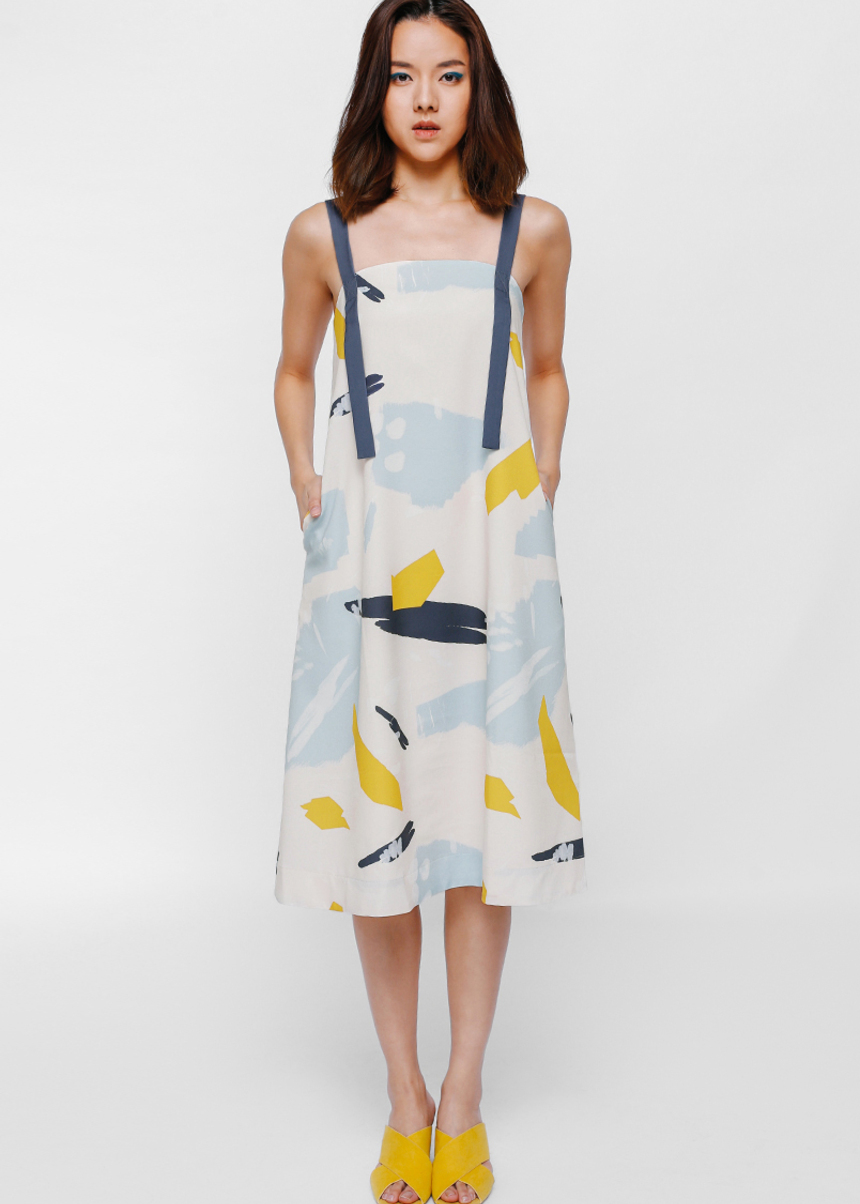 Pavanka Tie Back Sash Midi Dress