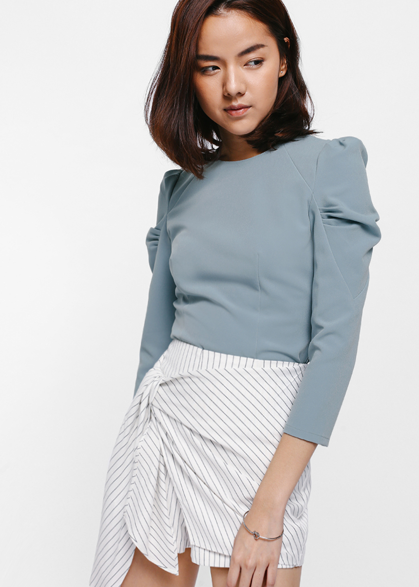 Nedia Ruched Puff Sleeve Top