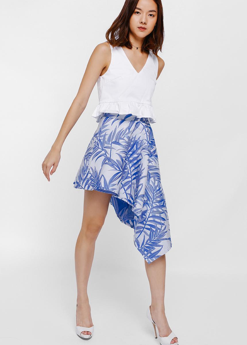 Auria Floral Asymmetrical Cascade Skirt