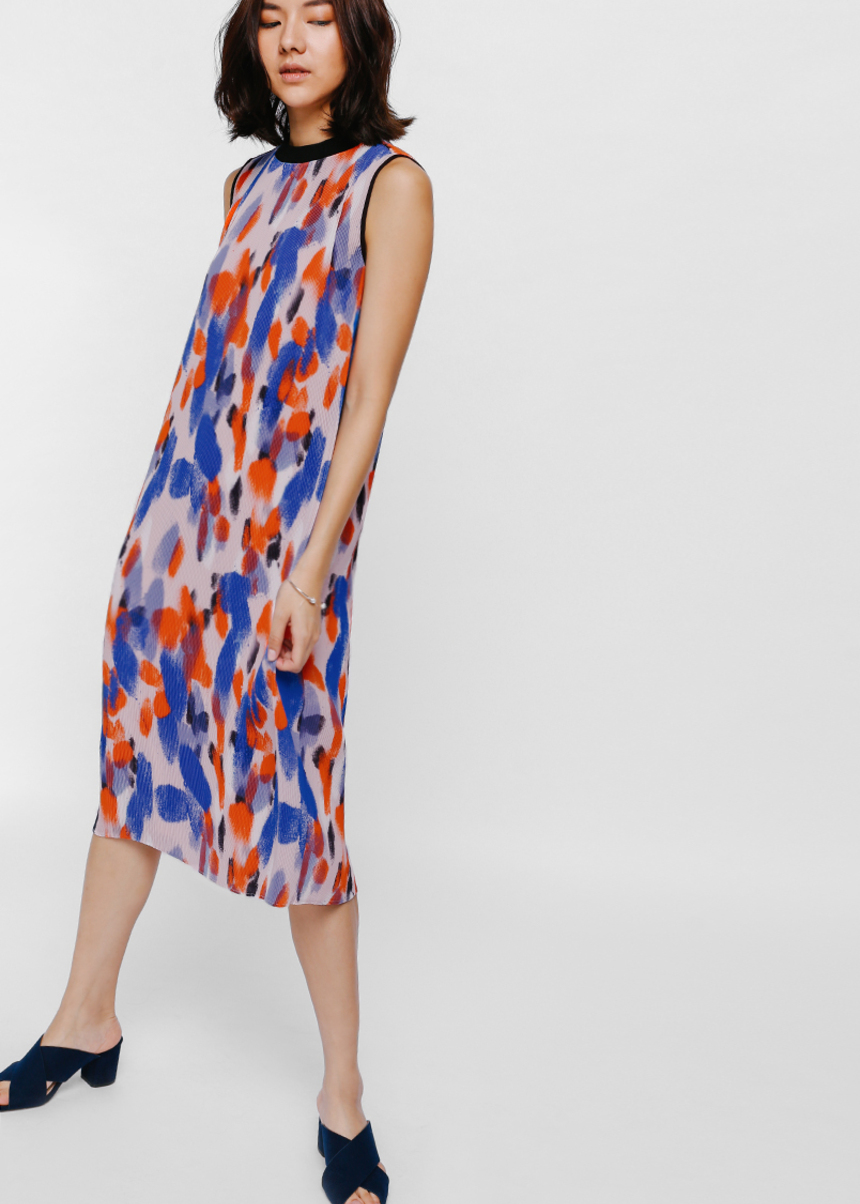 Ueshana Printed Pleat Midi Dress