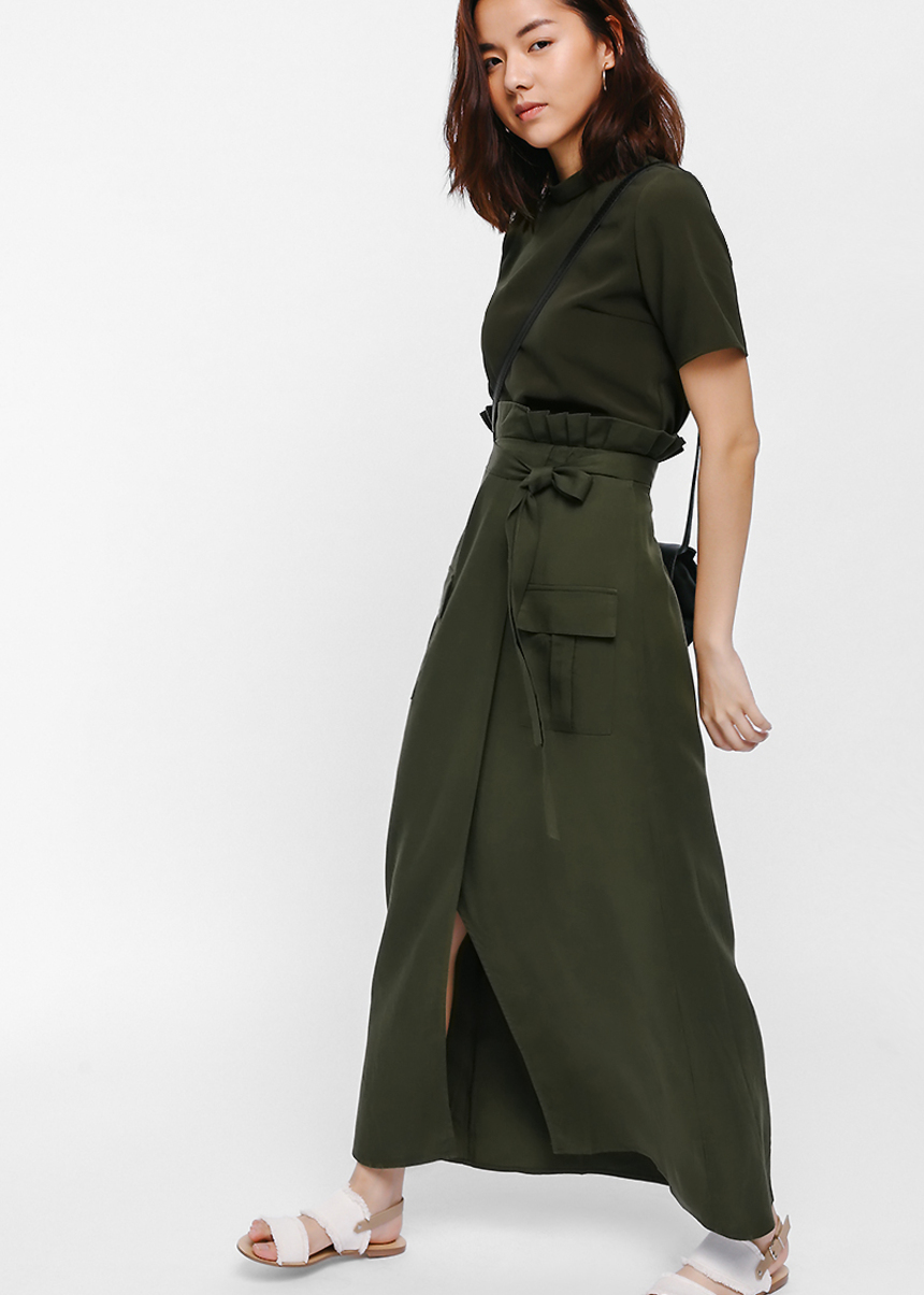 Fjon Crossover Pleated Paperbag Maxi Skirt
