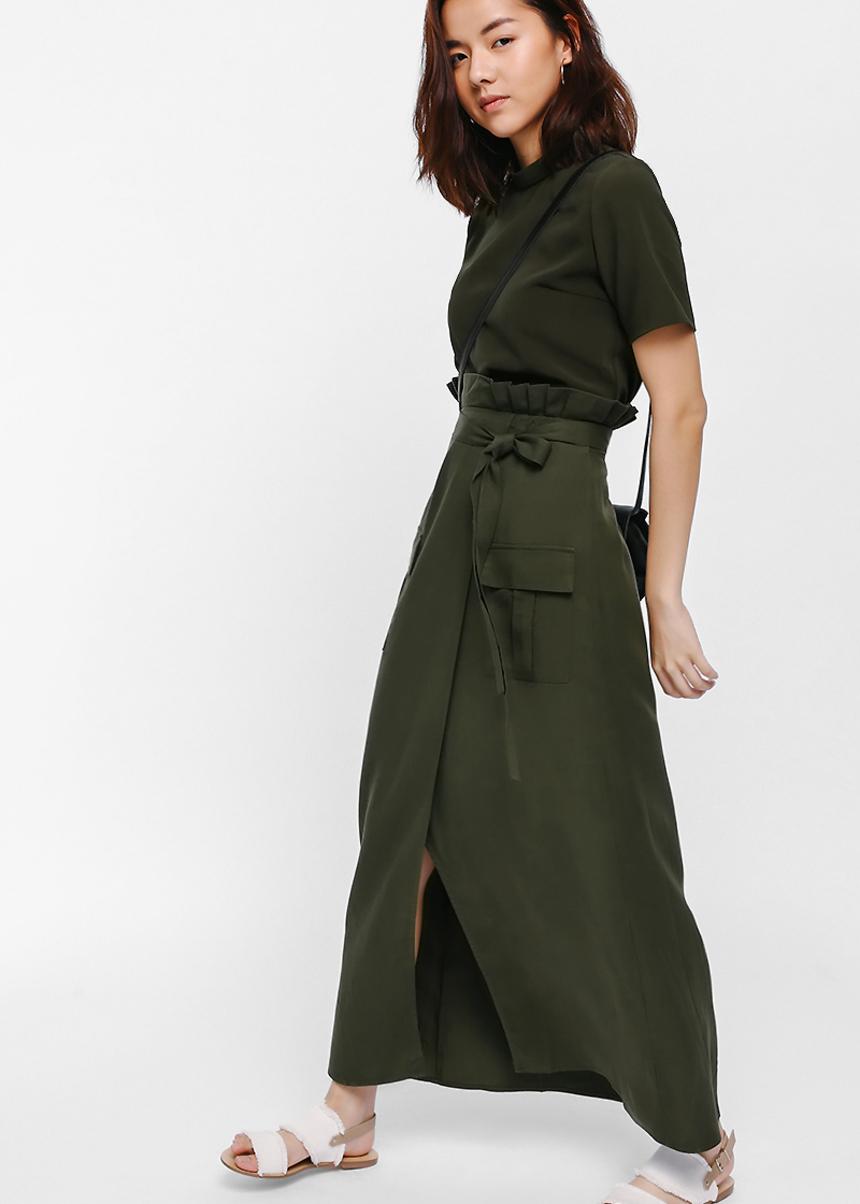 Fjon Crossover Pleated Paperbag Maxi Skirt
