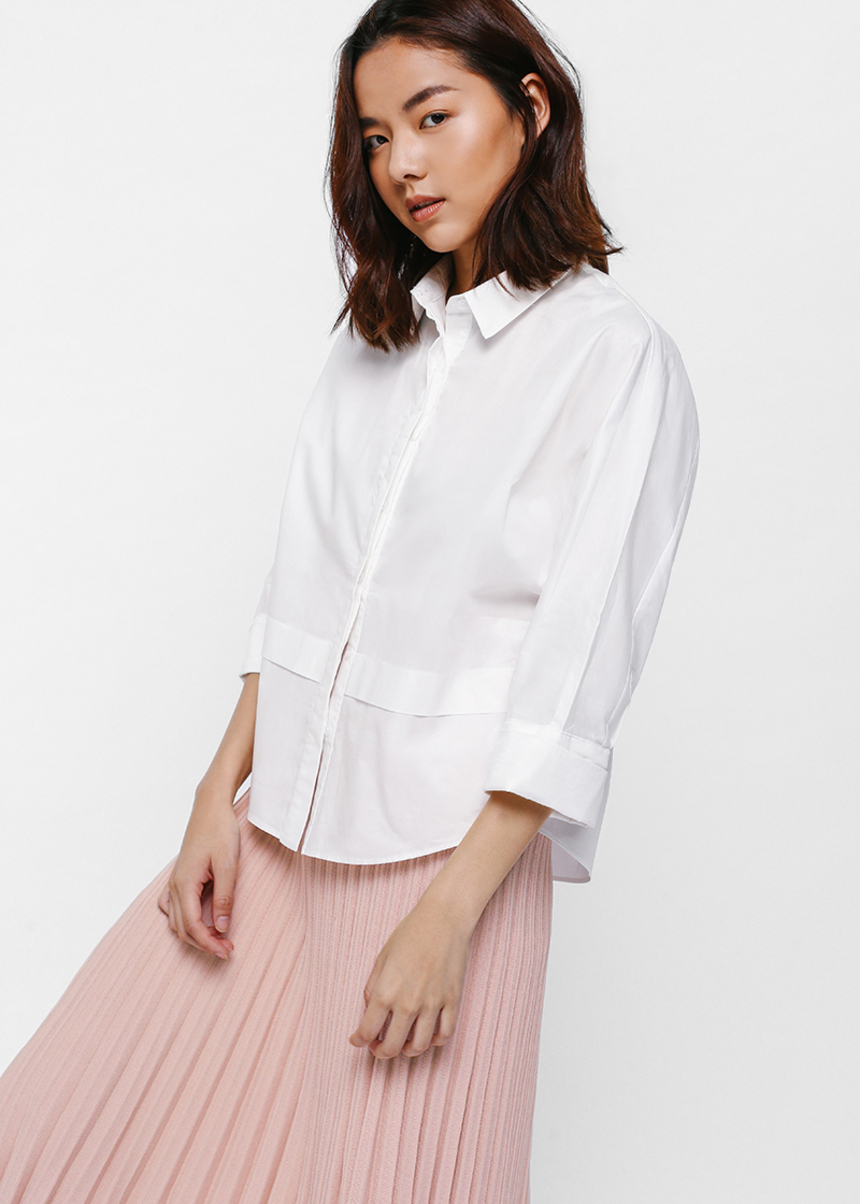 Ergie Button Front Layered Panel Shirt