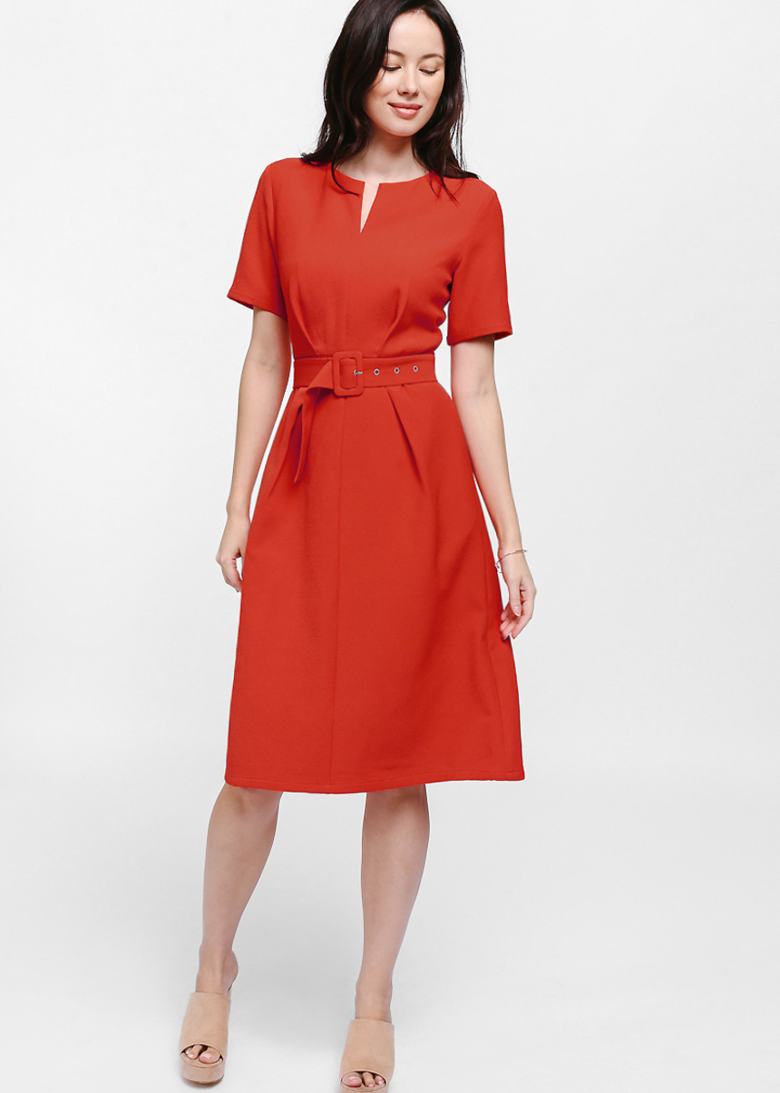Derri Textured Notch Belted Midi Dress