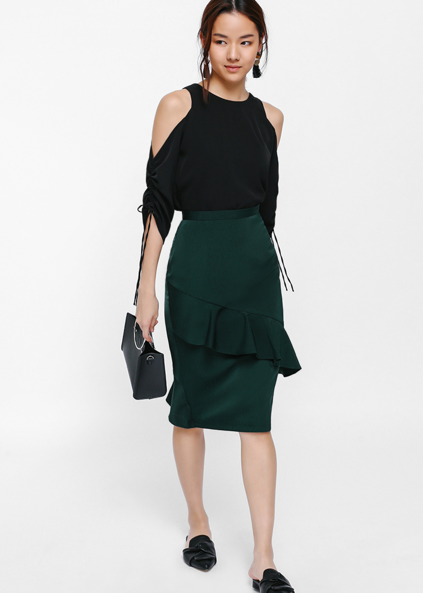 Annara Asymmetrical Ruffle Pencil Skirt