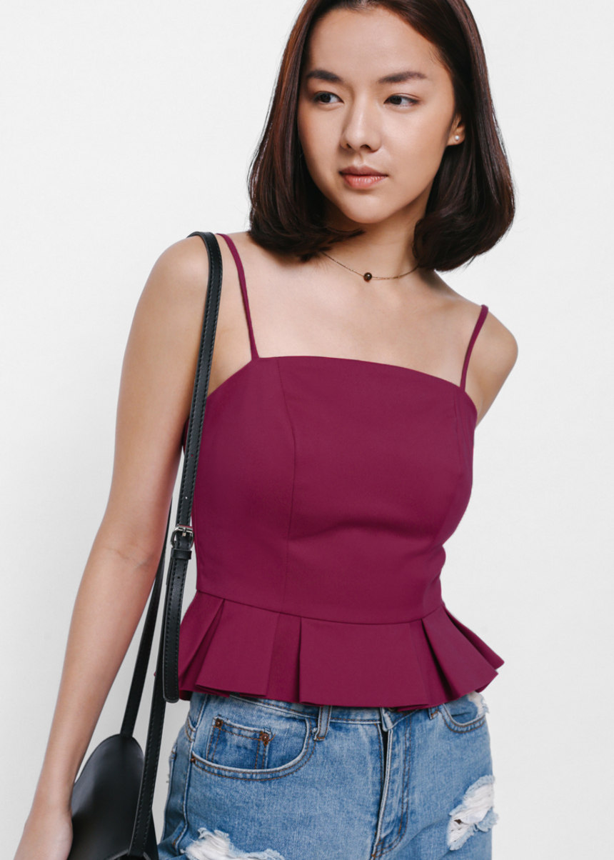Taraoke Pleated Peplum Top
