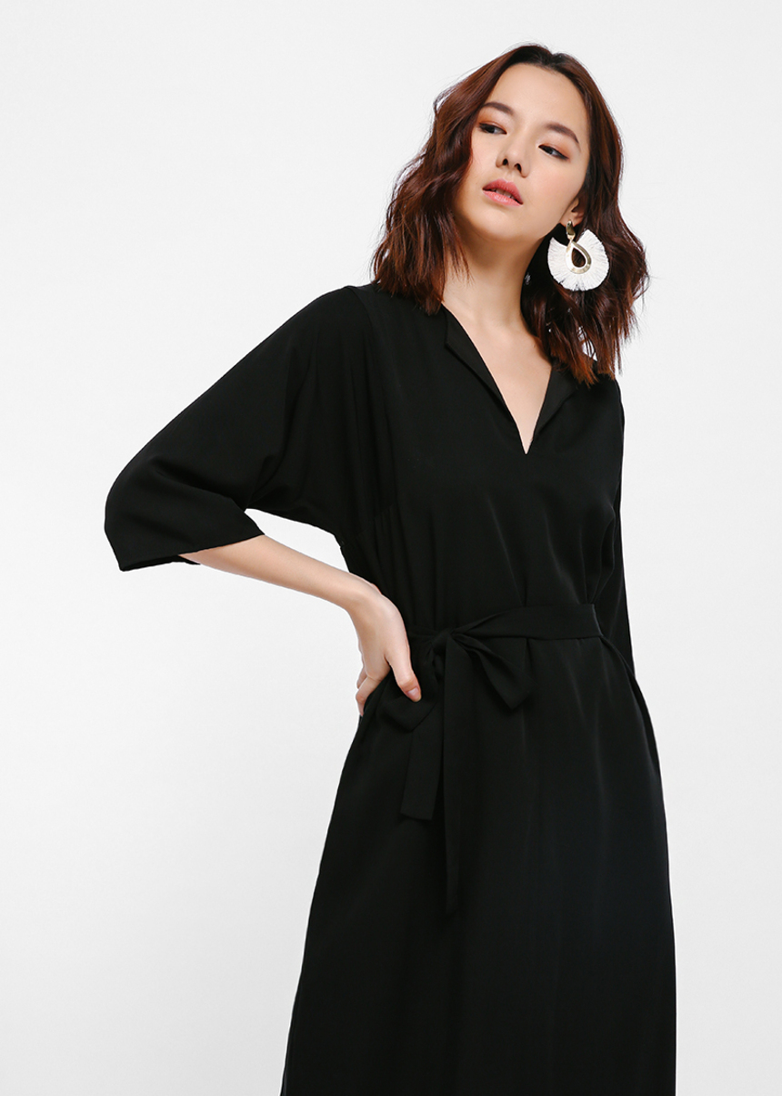 Bonika Notch Neck Sash Midi Dress