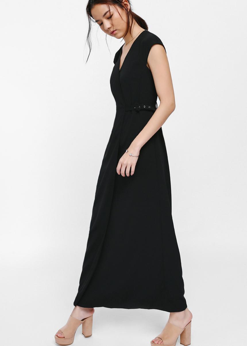 Ayakka Foldover Buckle Maxi Dress