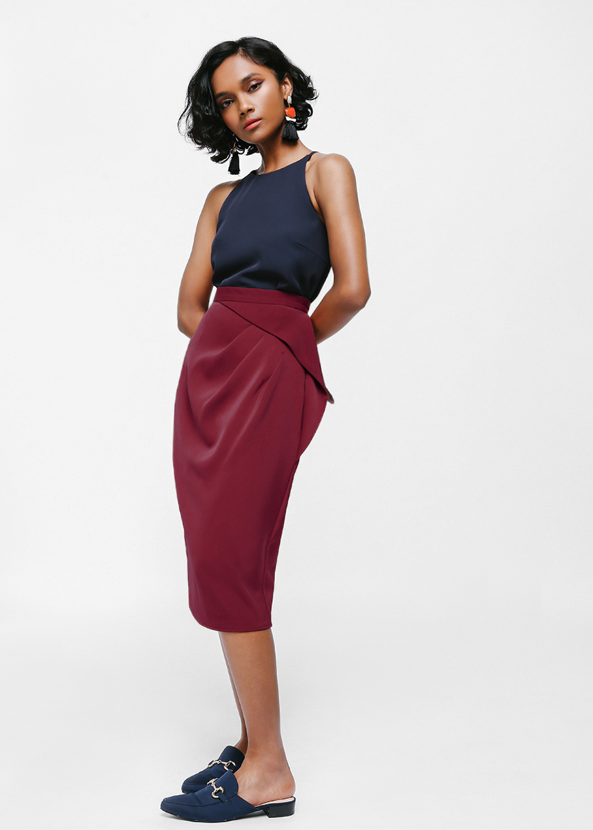 Lagyn Asymmetrical Ruched Skirt