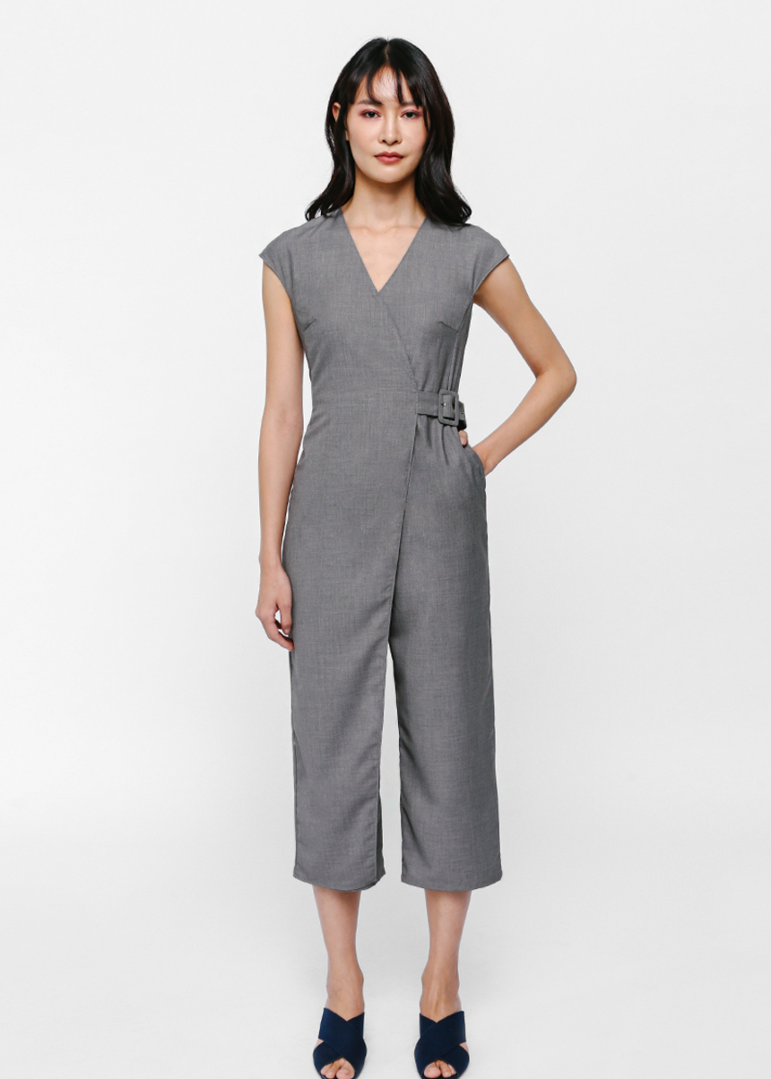 Grecia Foldover Belted Midi Jumpsuit